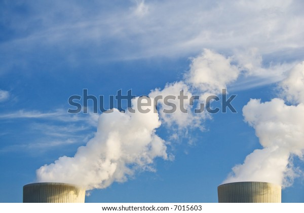 power plant creating clouds