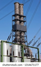 Power plant, distribution of electricity for various transmission networks, high voltage line