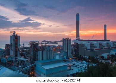Power plant at dusk in Hong Kong
