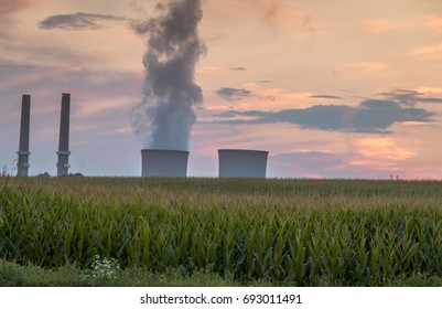 Power plant emits smoke as the day turns to dusk at Martins Creek Power Plant in New Jersey