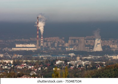 Power plant in heavy smog, air pollution in Krakow city, Poland