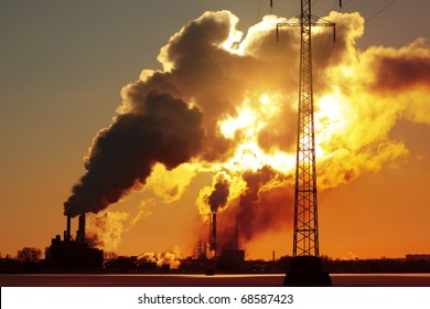 Power plant with huge smoke and electric towers