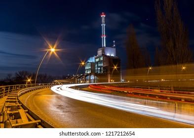 Power plant in Karlsruhe at night