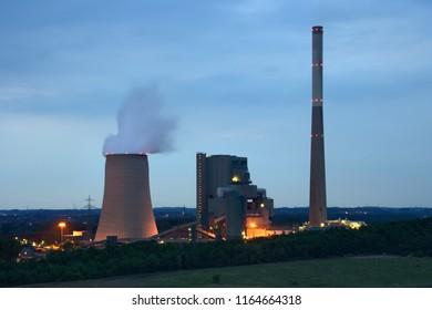Power plant Kraftwerk Heil in Bergkamen, Germany in the evening.