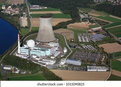 power plant Leibstadt at river rhine, Switzerland