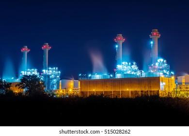 Power plant at night.