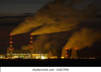 Power plant at night - Belchatow Poland.