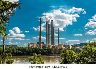 Power Plant on Ohio River Long Shot