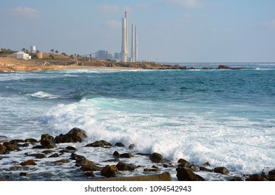Power plant Orot Rabin (Rabin's Lights) on the Mediterranean coast near the city of Hadera.