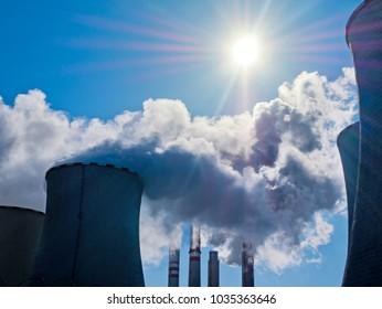 Power Plant Pocerady in Czech Republic in the Sunny Day