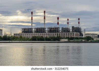 power plant at riverside in the morning