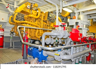 The power plant in  ship's engine room