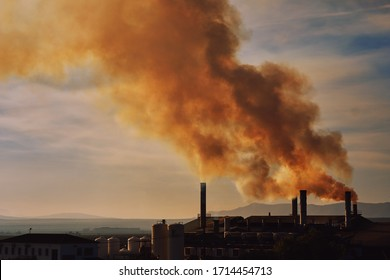 Power plant, smoke from the chimney. Air pollution environmental contamination, ecological disaster earth planet problems concept. Photo taken in Spain, Espana