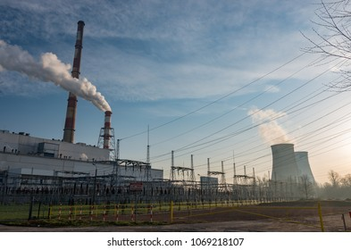 Power plant smoke chimney Krakow, Poland