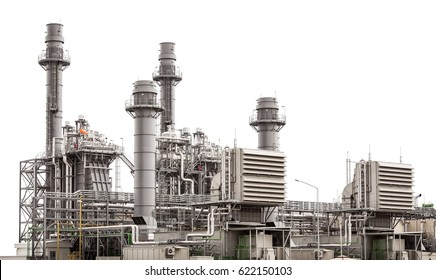 Power plant station building isolated on white background
