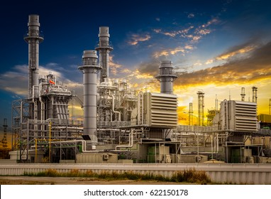 Power plant station building on sunset background