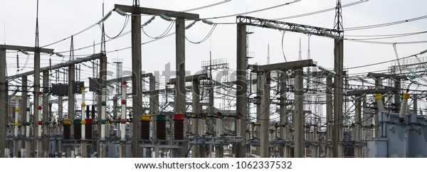 Power plant is a station of transformation. A lot of cables, poles and wires, transformers. Electro-energy.