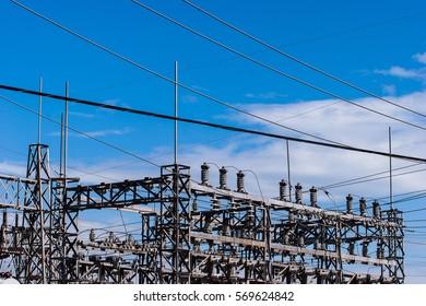 Power plant taken against a blue sky