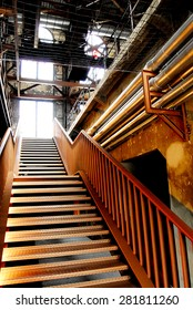power plant.interior stairs.ladder.steps.stairway.artistic photography.