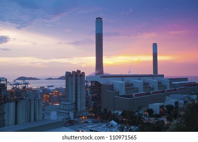 Power plants in Hong Kong at sunset