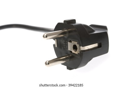 Power Plug - close up on power cord on white background