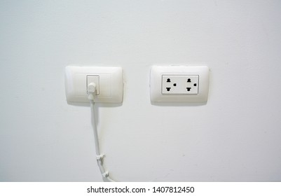 Power plug and TV wall mount, strong white wall