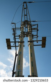 power pole with high voltage wires