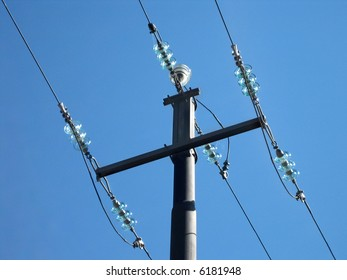 Power pole over blue with platic and metall
