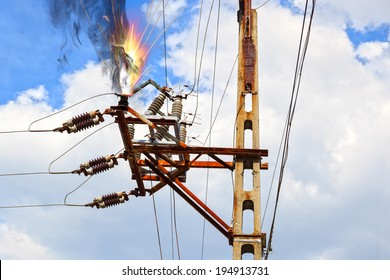 Power pylon - overloaded electrical circuit causing electrical short.