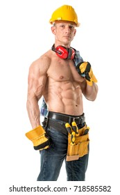 Power shirtless athletic construction worker showing great physique.