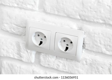 Power socket in concrete wall