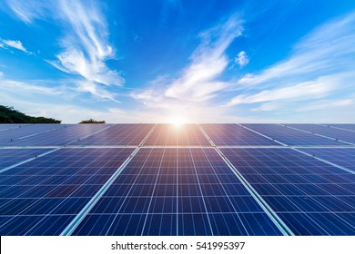 power solar panel on blue sky background,alternative clean green energy concept