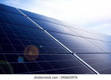 Power solar panels ,alternative clean green energy concept. Environmental protection