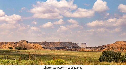 Power station behind the slag heaps