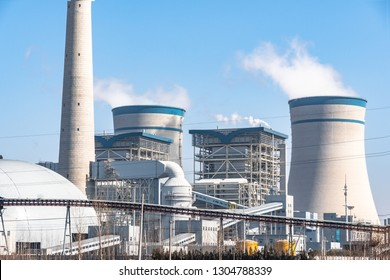 power station with blue sky