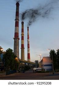 A power station by dawn in Gdansk, Poland.