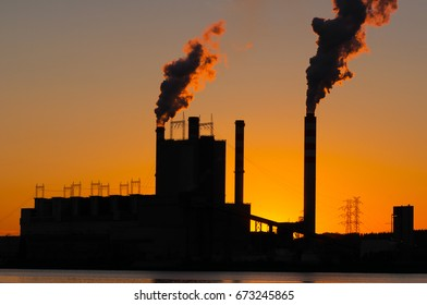 Power station by evening sunset in Konin- Poland, Europe
