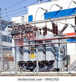 Power station with closeup on transformer on wheels