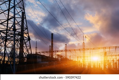 Power station at dusk and power lines