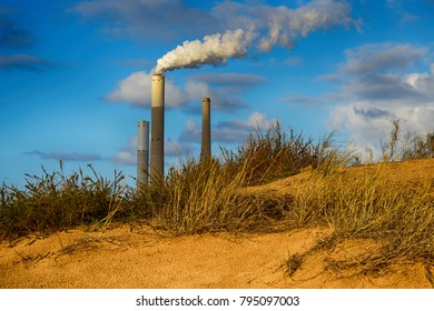 Power station near Ashkelon in Israel. Evening time.