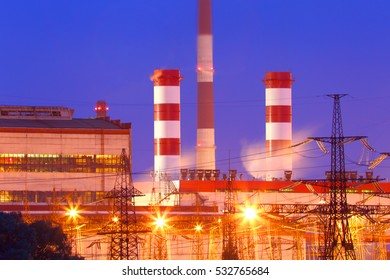 Power station with night lighting.Industrial business.