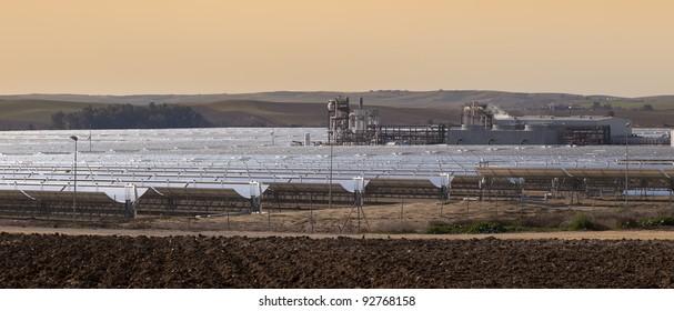 power station of solar parabolic energy near Seville, Andalusia, Spain