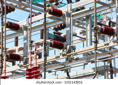 Power station structure detail. Energy plant. Electrical production. High voltage