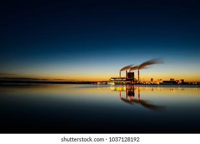 Power station at sunset in Konin Lake - Poland, Europe Titanic