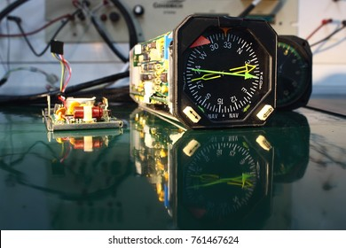 Power supply  circuit board ,compass indicator  and electronics circuit of indicator ,indicator of Avionics System ,Navigation system ,Avionics equipment in aircraft with maintenance.