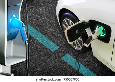 Power supply connect to electric car for add charge to the battery. Charging re technology industry transport which are the future of the Automobile.EV fuel for advanced Plug in hybrid car