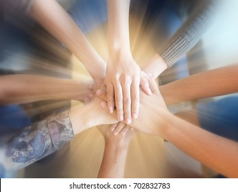 The power .Team work concept, Business people making pile of hands, Team meeting, Close-Up hands, Hand coordination team