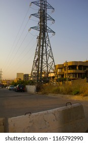Power Tower Towering Over Residential Homes in Sulaymaniyah, Iraqi-Kurdistan July 26th 2018
