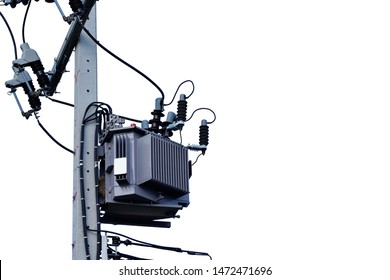Power transformer. Electrical energy transfer to end users through distribution transformer on concrete pole changing high voltage to low voltage on isolated white background.