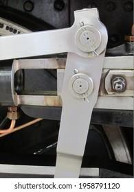 Power transmission and drive linkage of a Swiss steam locomotive, built at SLM (Schweizerische Lokomotiv- und Maschinenfabrik) in Winterthur, Swiss